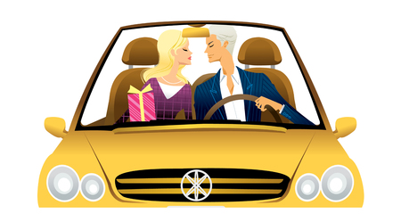Young couple driving convertible car Illustration