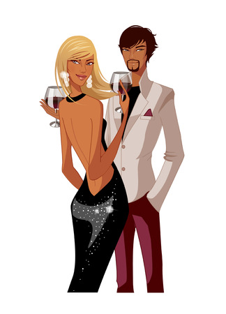 man looking out: Elegant couple holding wineglass Illustration