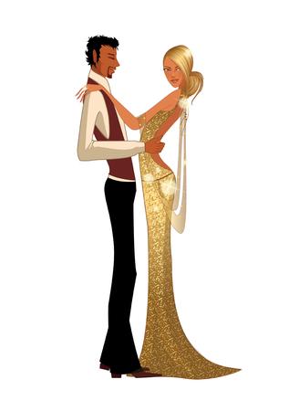 Elegant couple dancing Illustration