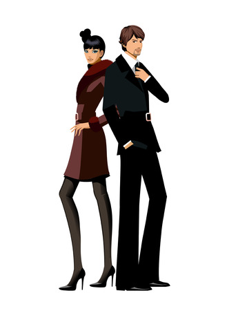 Portrait of Elegant couple Illustration
