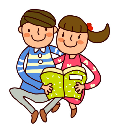 Portrait of Boy and Girl reading book