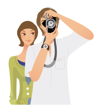 looking through an object: young man Taking photo and woman standing behind Illustration
