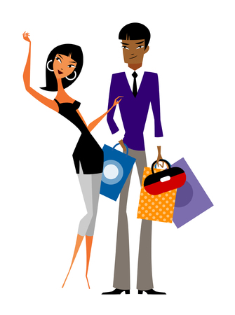 man looking out: Couple with shopping bags Illustration