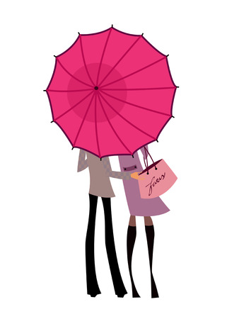Couple standing under one umbrella