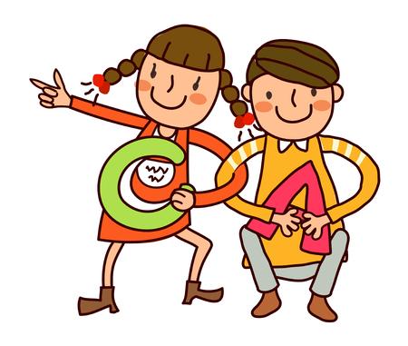 coordinacion: Retrato de niña letra C y niño sosteniendo la letra A Vectores