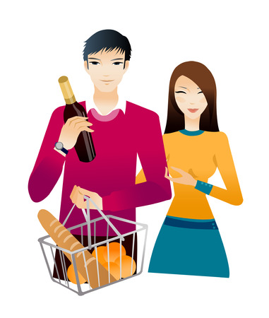 Young couple with champagne bottle and bread Illustration