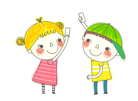 side viewing: Boy and Girl playing with cards Illustration