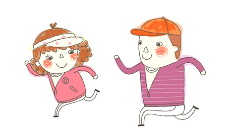 Boy and Girl running Illustration