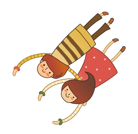 man looking out: Boy and Girl laying on stomach Illustration