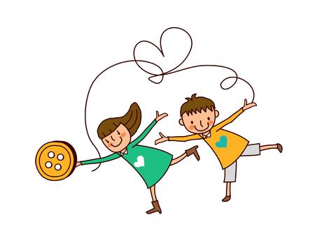 Portrait of Boy and Girl dancing Illustration