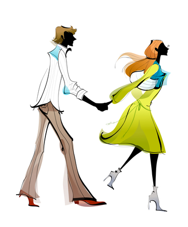 man holding womans hand Illustration