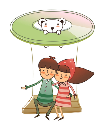 man looking out: Boy and Girl sitting on ride Illustration