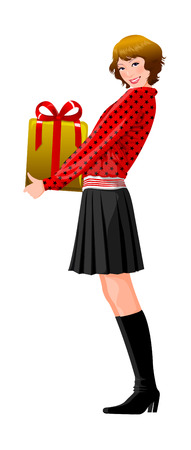 Side view of woman holding gift box