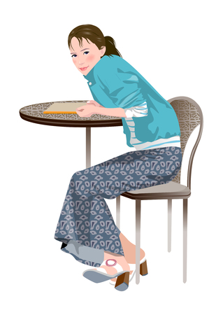 side table: Side view of woman sitting