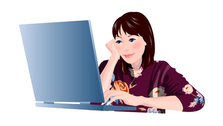 Close-up of woman sitting by laptop Illustration