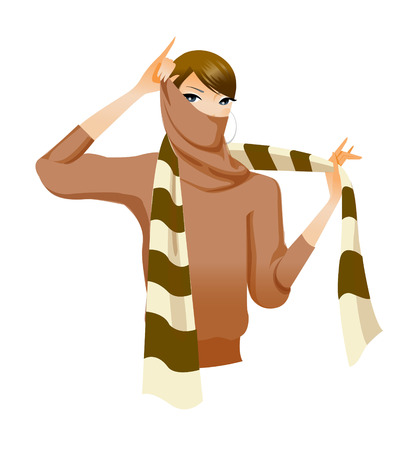 Close-up of woman holding scarf