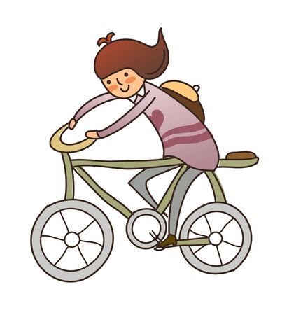 one girl only: side view of girl riding bicycle