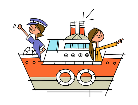 side view of women sitting in ship Illustration