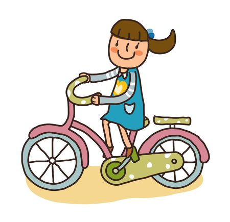 Side view of girl riding bicycle