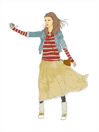 Close-up of woman walking. Illustration