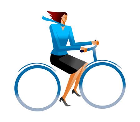 Side view of woman riding bicycle Illustration