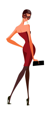 Rear view of woman holding purse Illustration