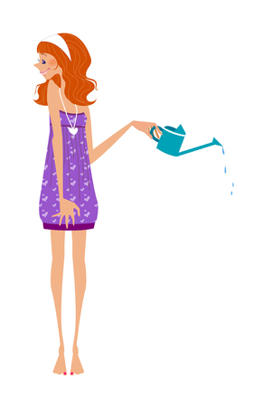 close-up of woman holding watering can Illustration