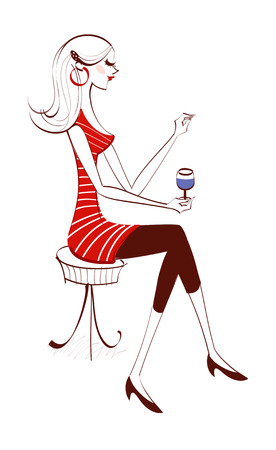 Side view of woman holding wineglass Illustration