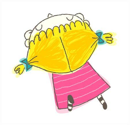 rear view of girl sitting Illustration