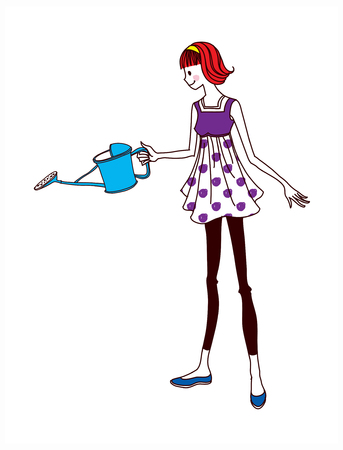 side view of woman holding watering can