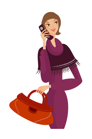 woman on phone: Close-up of woman holding mobile phone Illustration
