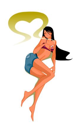 smoking woman: Close-up of woman lying Illustration