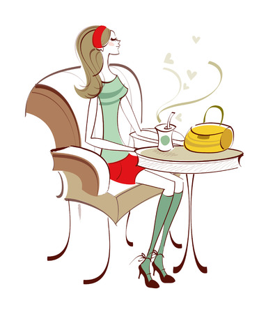 Side view of woman sitting on chair Illustration