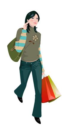 Close-up of woman walking Illustration