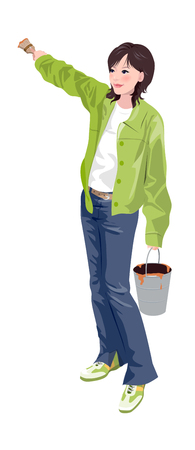 Close-up of woman holding bucket Illustration
