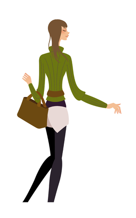 Rear view of woman standing Illustration
