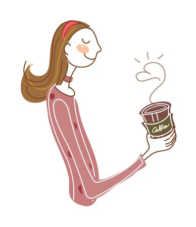 Side view of woman holding cup. Illustration