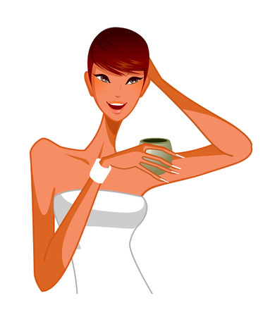 Close-up of woman holding cup Illustration