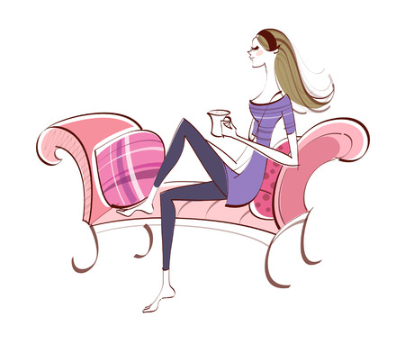 Side view of woman sitting on sofa