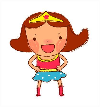 close-up of girl smiling Illustration