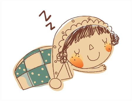 side view of girl sleeping Illustration