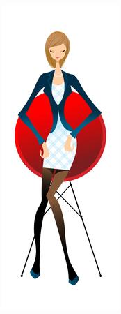 close-up of woman sitting Illustration