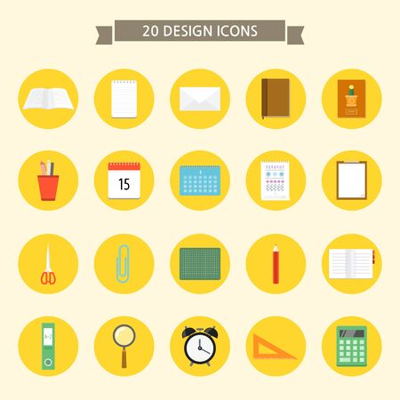 Set of flat icons on colored circles- stationary Illustration