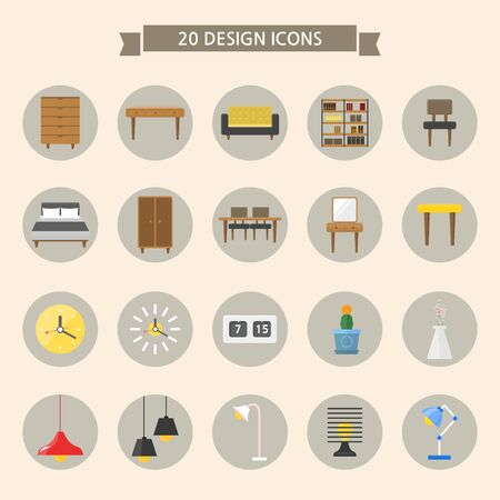 Set of flat icons on colored circles- interior Illustration