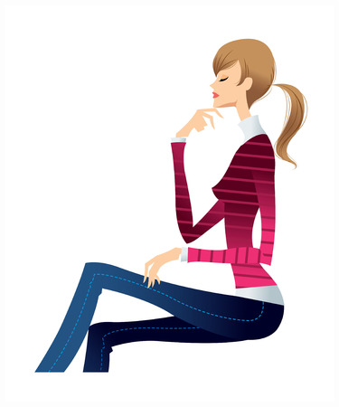 side view of woman sitting Illustration
