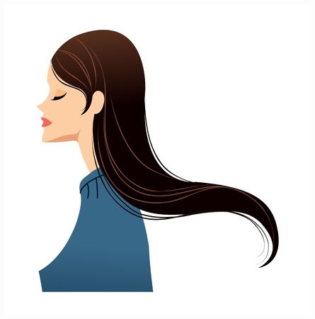 side view of woman smiling Illustration