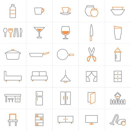 settee: Set of line icons- house