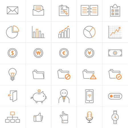 Set of line icons- business