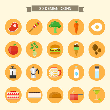 Set of flat icons on colored circles- food Illustration