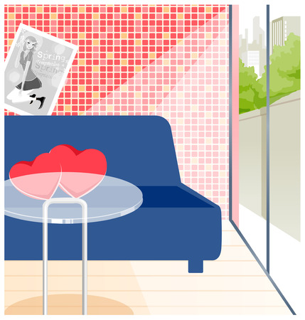 couches: There are couches and tables in a room. Illustration
